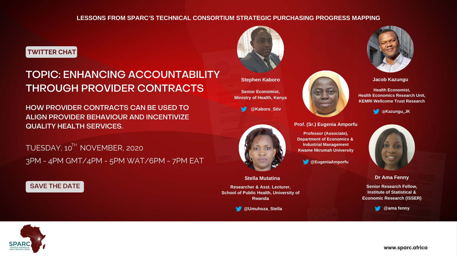 Key Message from SPARCchat VIII 'Enhancing Accountability Through Provider Contracts – How provider contracts can be used to align provider behaviour and incentivize quality health services.'