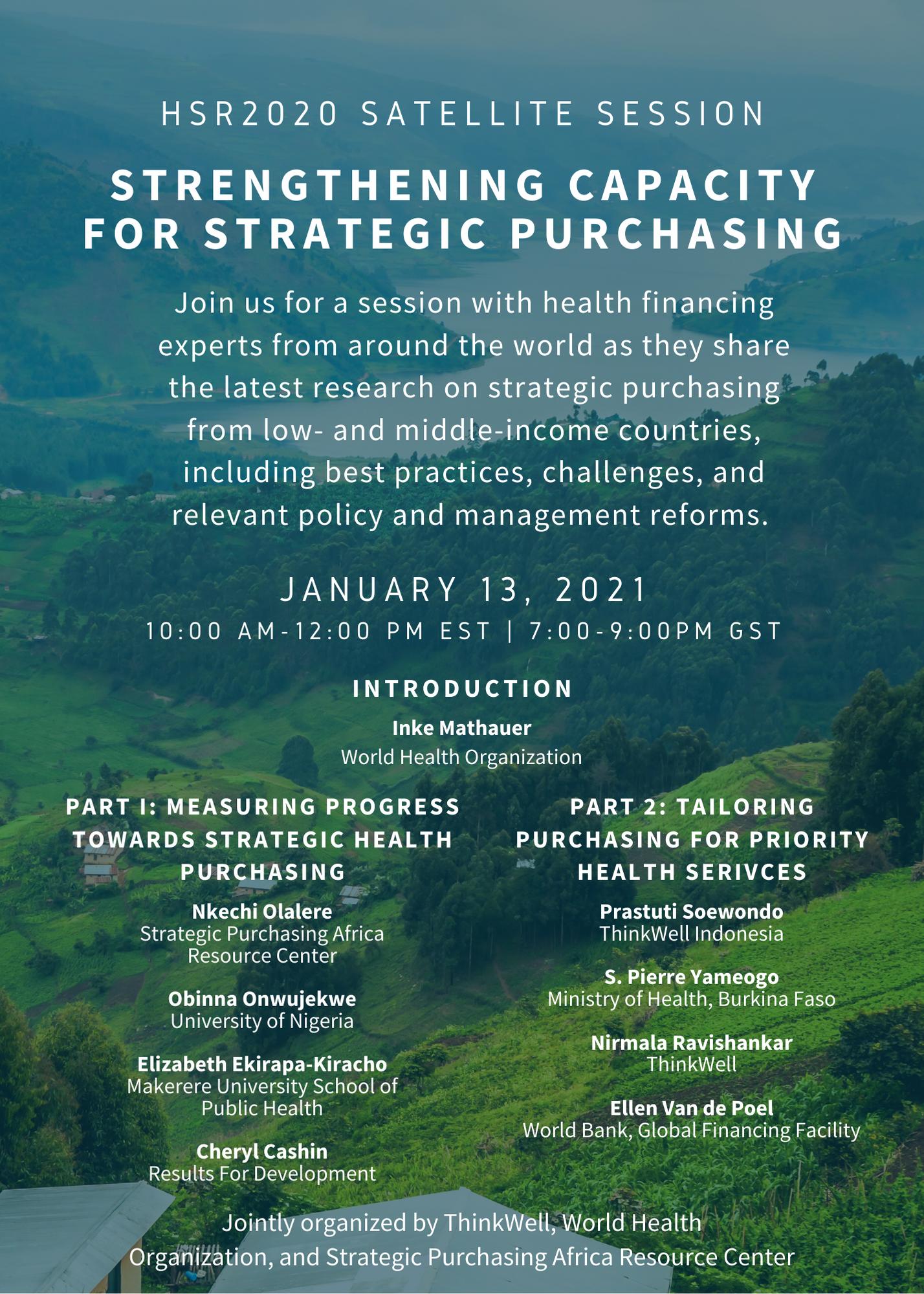 Strengthening Capacity for Strategic Purchasing: HSR2020 SPARC Satellite Session Q&A