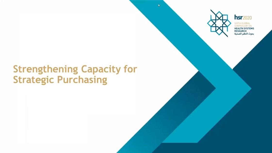 HSR2020 SPARC Satellite Session: Strengthening Capacity for Strategic Purchasing