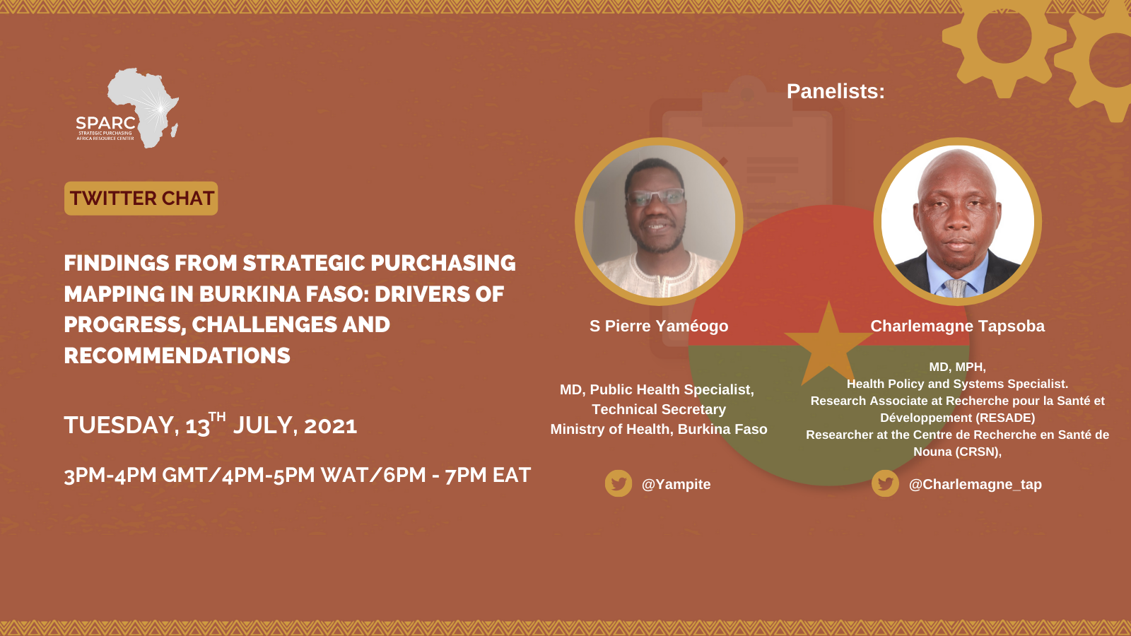 Curated Tweets from SPARCchat 15: 'Findings from Strategic Purchasing Mapping in Burkina Faso: Drivers of Progress, Challenges and Recommendations'