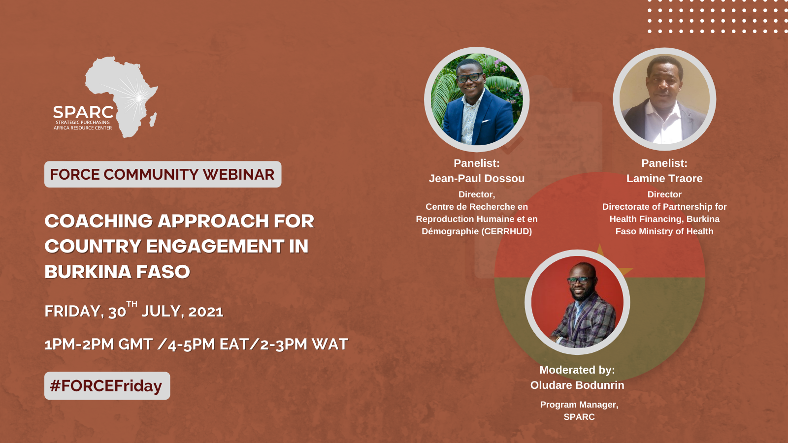 Key Messages from the July FORCE Community Webinar: Coaching Approach for Country Engagement in Burkina Faso